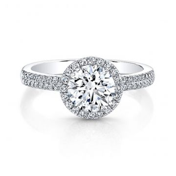 18K WHITE GOLD WHITE DIAMOND HALO ENGAGEMENT RING - 26959-18W