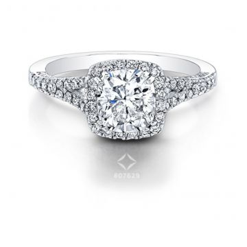 SPLIT SHANK SQUARE HALO DIAMOND ENGAGEMENT RING - 26989-18W