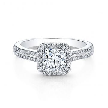 IDEAL SQUARE DIAMOND HALO DOUBLE SHANK ENGAGEMENT RING - 27001-18W