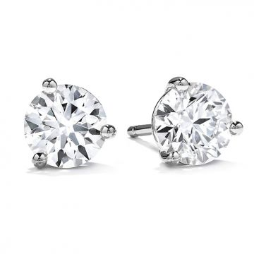 Hearts on Fire 1 ctw. Three-Prong Stud Earrings in 18K White Gold