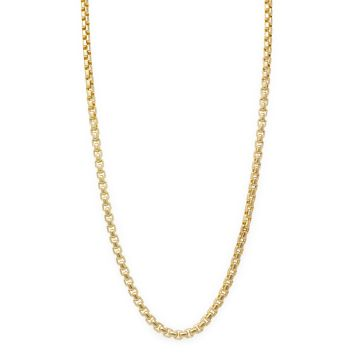 14 Karat Yellow Gold Round Box Link Chain