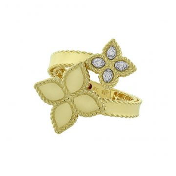 Roberto Coin Princess Collection Double Flower Diamond Bypass Fashion Ring