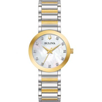 Bulova Dress Quartz Stainless Steel Diamond Womens Watch