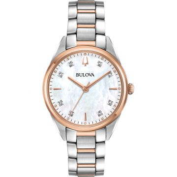 Bulova Sutton Quartz Stainless Steel 32.5mm Diamond Womens Watch