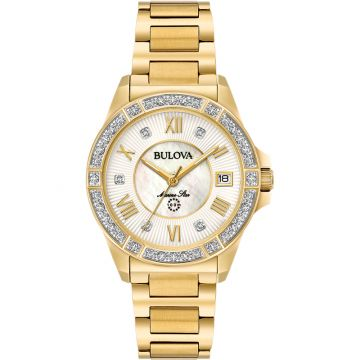 Bulova Marine Star Quartz 34mm Diamond Womens Watch
