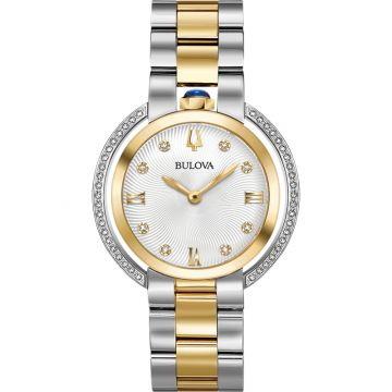 Bulova Rubaiyat Quartz Stainless Steel 35mm Diamond Womens Watch