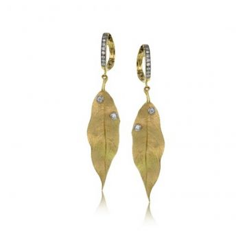 18k white and yellow gold Earring .23D
