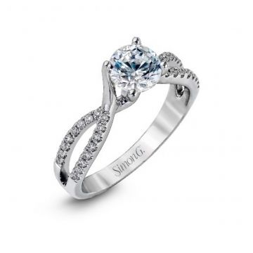 18k white gold engagement ring .18D