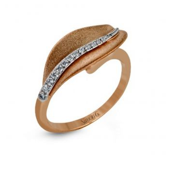 18k white and rose gold right hand fashion cocktail ring .09D