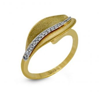 18k white and yellow gold right hand fashion cocktail ring .09D