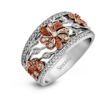 18k white and rose gold right hand fashion cocktail ring .53D
