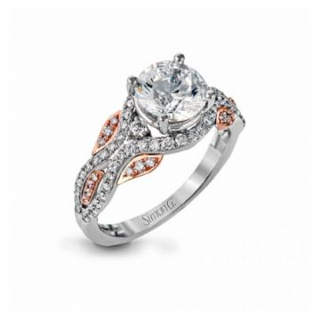 18k white and rose gold engagement ring .42D