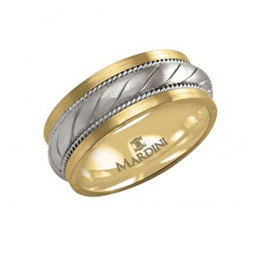 9MM TWO TONE WEDDING BAND - SANDBLAST FINISH - FJM-013