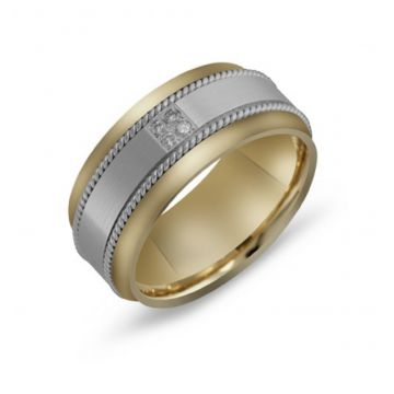 10MM TWO TONE DIAMOND WEDDING BAND - FJMD-011
