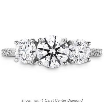 Hearts on Fire Platinum Camilla 3 Stone Engagement Ring