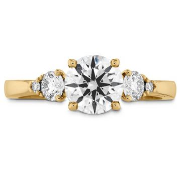 Hearts on Fire 18k Yellow Gold 3 Stone Engagement Ring