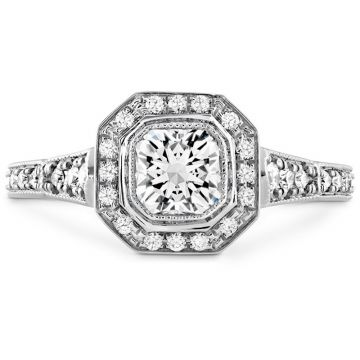 Hearts on Fire Platinum Deco Chic Halo Engagement Ring