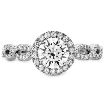 Hearts on Fire Platinum Twisted Halo Engagement Ring