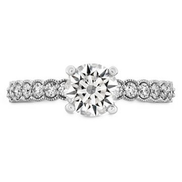 Hearts on Fire Platinum  3 Stone Halo Engagement Ring