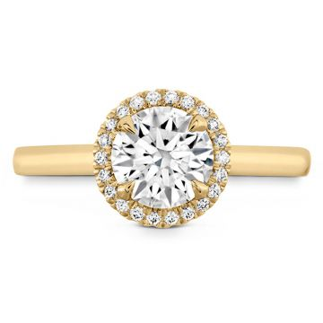 Hearts on Fire 18k Yellow Gold Halo Engagement Ring