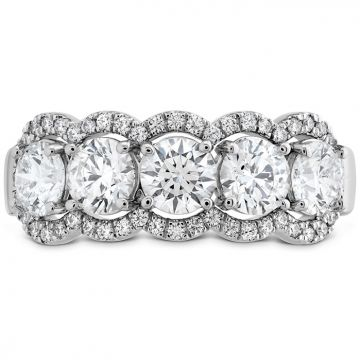 Hearts on Fire 1.55 ctw. HOF 5 Stone Halo Band in 18K White Gold
