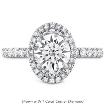 Hearts on Fire 0.4 ctw. Juliette Oval Halo Diamond Engagement Ring in 18K White Gold