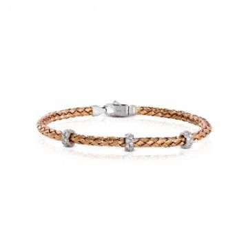 18k white and rose gold Bangle .32D