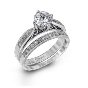 18k white gold wedding set .34D