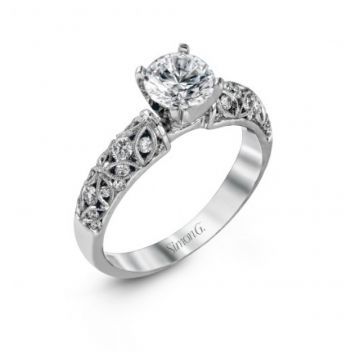 18k white gold engagement ring .35D