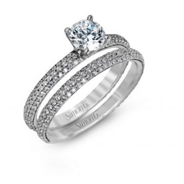 18k white gold wedding set .86D