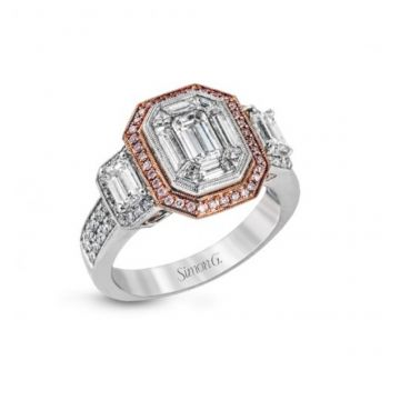 18k white and rose gold engagement ring .23D .14PD .50EMC 1.01MOSAIC