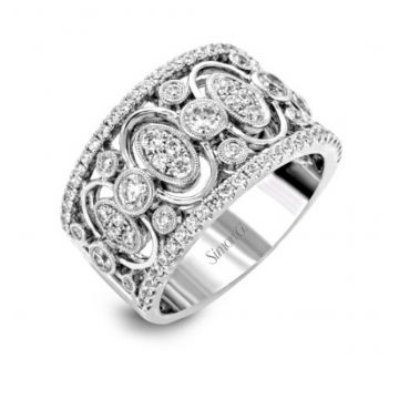 18k white gold right hand fashion cocktail ring .78D .27CTRS
