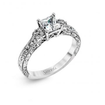 18k white gold engagement ring .15D
