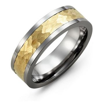 Madani 7mm Tungsten Yellow Gold Wedding Band