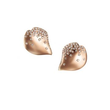 Mikimoto Petal 18K Rose Gold Diamond Earrings