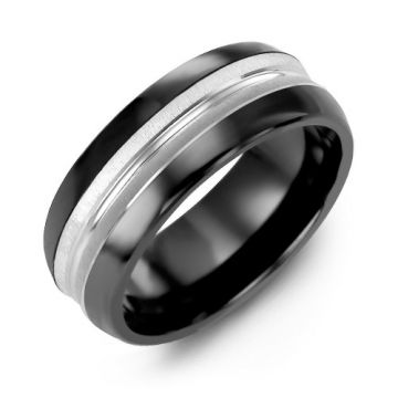 8.5mm Black Ceramic Tiffany 10K White Gold Wedding Band