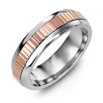 6.5mm Cobalt Tiffany 10K Pink Gold Wedding Band