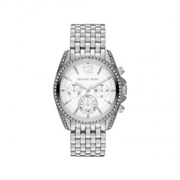 MID-SIZE SILVER COLOR STAINLESS STEEL PRESSLEY CHRONOGRAPH GLITZ WATCH - MK5834