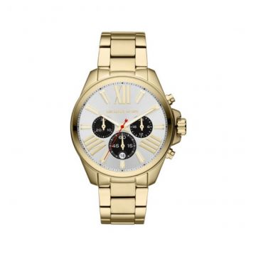 MID-SIZE SILVER COLOR STAINLESS STEEL PRESSLEY CHRONOGRAPH GLITZ WATCH - MK5838