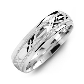 7mm White Gold 10K White Gold Wedding Band