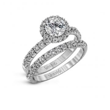18k white gold wedding set .80D