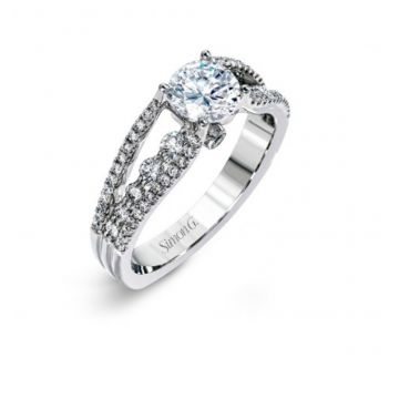 18k white gold engagement ring .58D