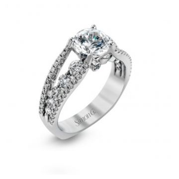 18k white gold engagement ring .91D