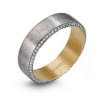 14K White And Yellow Gold Gents Band .50D