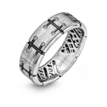 18K White Gold Gents Band .24D
