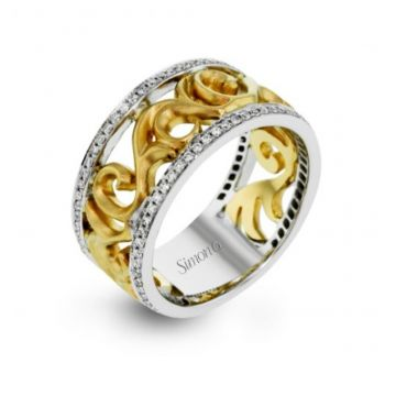 14K White And Yellow Gold Mens Band