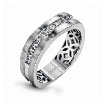 18K White Gold Gents Band .68Pc