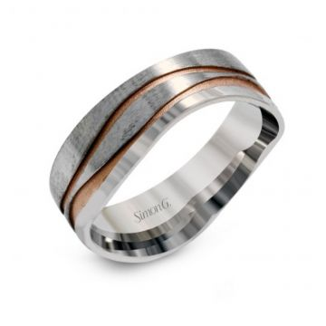 14K White And Rose Gold Gents Band