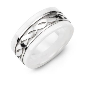 9mm White Ceramic 10K White Gold Wedding Band