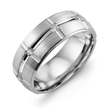 8mm White Gold 10K White Gold 0.4tcw Diamond Wedding Band